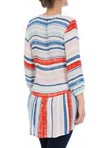 Three Quarter Sleeve Striped Crepe Top Blue/Aqua/Coral - Gallery Image 3