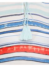 Three Quarter Sleeve Striped Crepe Top Blue/Aqua/Coral - Gallery Image 4