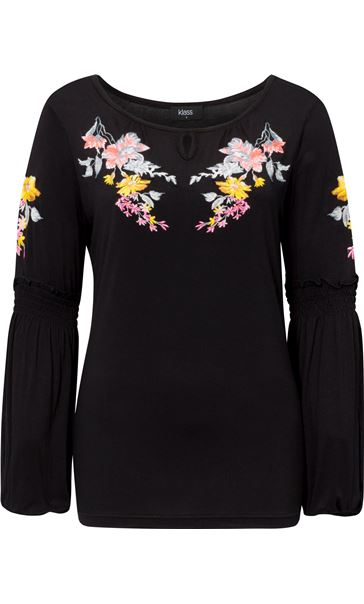 Embroidered Long Split Sleeve Top Black