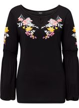 Embroidered Long Split Sleeve Top Black - Gallery Image 1