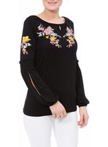 Embroidered Long Split Sleeve Top Black - Gallery Image 2