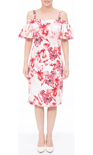 Floral Printed Midi Scuba Dress Ivory/Red
