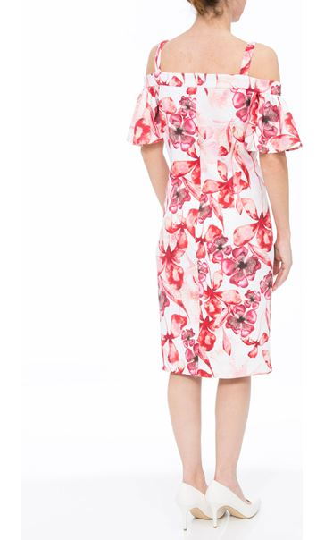 Floral Printed Midi Scuba Dress Ivory/Red - Gallery Image 2