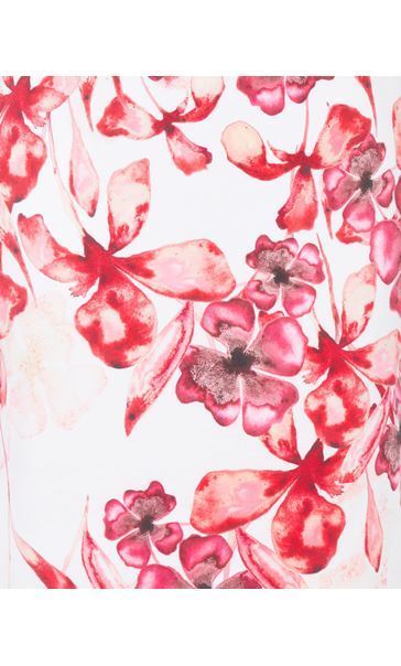 Floral Printed Midi Scuba Dress Ivory/Red - Gallery Image 3