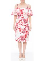Floral Printed Midi Scuba Dress Ivory/Red - Gallery Image 1