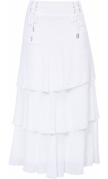 Layered Bias Cut Skirt White