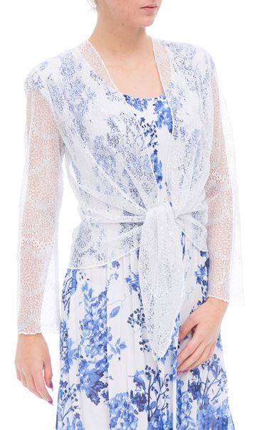 Anna Rose Long Sleeve Mesh Cover Up White/Silver - Gallery Image 2