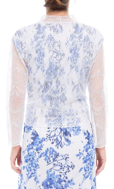 Anna Rose Long Sleeve Mesh Cover Up White/Silver - Gallery Image 3