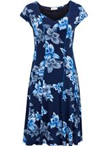Anna Rose Panelled Floral Short Sleeve Midi Dress Navy/Cobalt - Gallery Image 1
