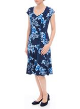 Anna Rose Panelled Floral Short Sleeve Midi Dress Navy/Cobalt - Gallery Image 2