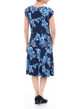 Anna Rose Panelled Floral Short Sleeve Midi Dress Navy/Cobalt - Gallery Image 3