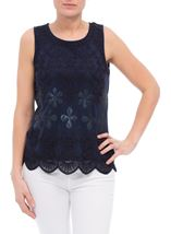 Sequin And Tapework Sleeveless Top Navy - Gallery Image 2