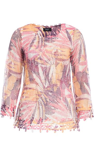 Leaf Printed Open Knit Top Claret/Blush