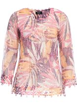 Leaf Printed Open Knit Top Claret/Blush - Gallery Image 1