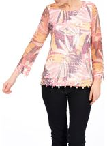 Leaf Printed Open Knit Top Claret/Blush - Gallery Image 2