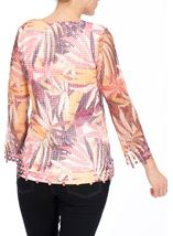 Leaf Printed Open Knit Top Claret/Blush - Gallery Image 3