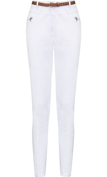 Belted Slimline Stretch Trousers White