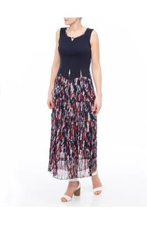 Sleeveless Jersey And Georgette Maxi Dress