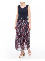 Sleeveless Jersey And Georgette Maxi Dress Midnight/Claret - Gallery Image 1