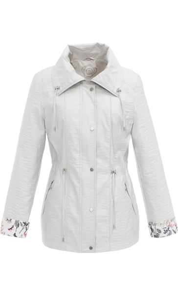 Anna Rose Lightweight Printed Cuff Coat Chalk
