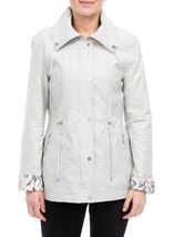 Anna Rose Lightweight Printed Cuff Coat Chalk - Gallery Image 2