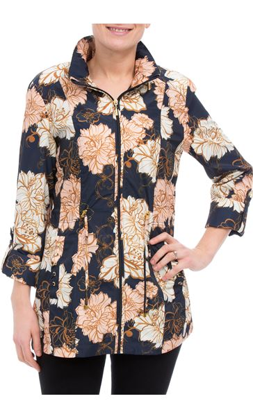 Anna Rose Lightweight Floral Coat Navy Floral - Gallery Image 1