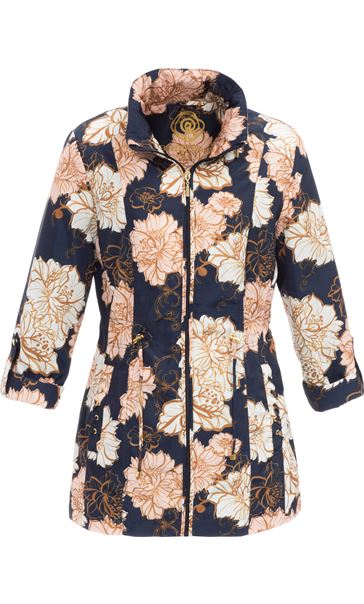 Anna Rose Lightweight Floral Coat Navy Floral - Gallery Image 2