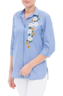 Embroidered Long Sleeve Stripe Blouse