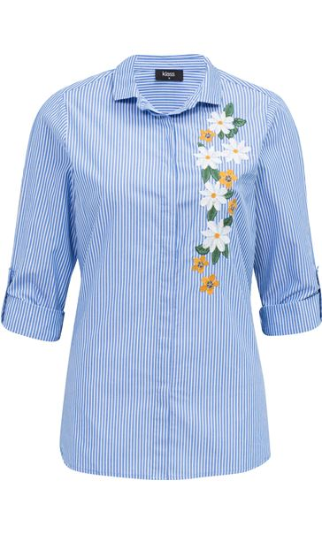 Embroidered Long Sleeve Stripe Blouse Blue/White