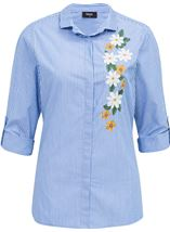 Embroidered Long Sleeve Stripe Blouse Blue/White - Gallery Image 1