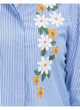 Embroidered Long Sleeve Stripe Blouse Blue/White - Gallery Image 4