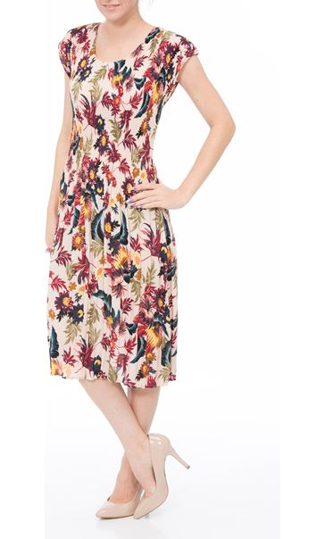 Floral Print Pleated Midi Dress Multi Pink