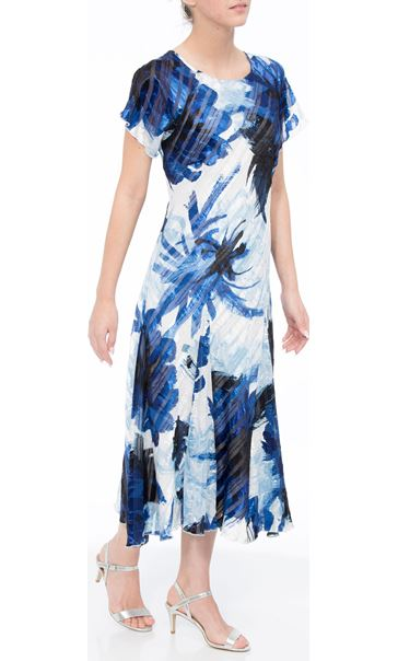 Anna Rose Bias Cut Midi Dress Cobalt/Ivory