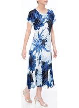 Anna Rose Bias Cut Midi Dress Cobalt/Ivory - Gallery Image 1