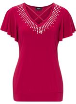 Criss cross detail embellished top Claret - Gallery Image 1