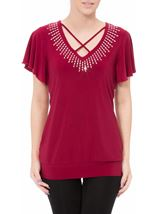 Criss cross detail embellished top Claret - Gallery Image 2