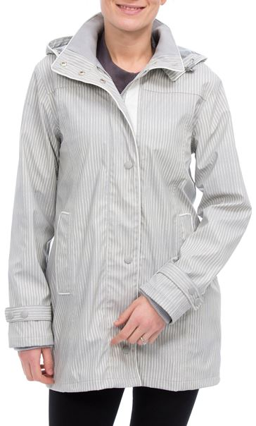 Anna Rose Stripe Waterproof Coat Grey/White