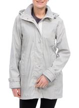 Anna Rose Stripe Waterproof Coat Grey/White - Gallery Image 1