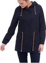 Hooded Cotton Coat Navy - Gallery Image 1