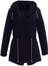 Hooded Cotton Coat Navy - Gallery Image 3