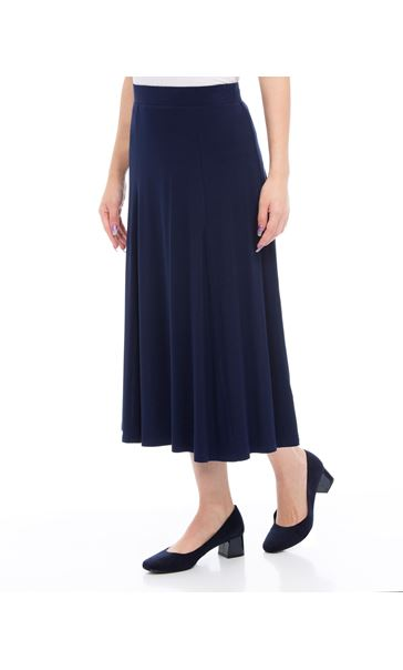 Anna Rose Pull On Jersey Midi Skirt Navy