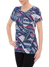 Anna Rose Short Sleeve Printed Jersey Top Navy/Raspberry - Gallery Image 2