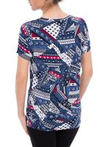 Anna Rose Short Sleeve Printed Jersey Top Navy/Raspberry - Gallery Image 3
