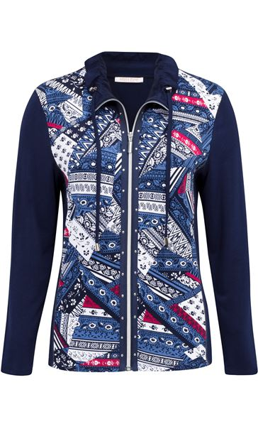 Anna Rose Printed Panel Zip Jersey Jacket Navy/Raspberry