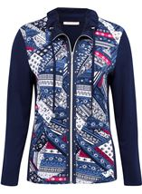 Anna Rose Printed Panel Zip Jersey Jacket Navy/Raspberry - Gallery Image 1