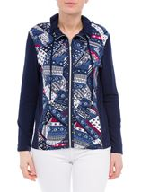 Anna Rose Printed Panel Zip Jersey Jacket Navy/Raspberry - Gallery Image 2