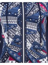 Anna Rose Printed Panel Zip Jersey Jacket Navy/Raspberry - Gallery Image 4