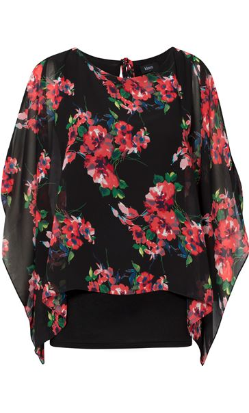 Floral Chiffon Layer And Jersey Top Black/Coral