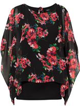 Floral Chiffon Layer And Jersey Top Black/Coral - Gallery Image 1