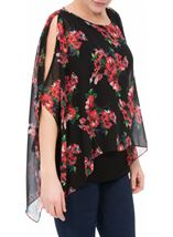 Floral Chiffon Layer And Jersey Top Black/Coral - Gallery Image 2